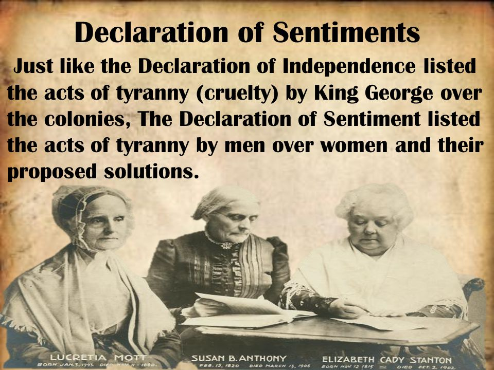 chapter   analyzing arguments   havlicek    s classroomthe declaration of sentiments  also known as the declaration of rights and sentiments  is a document signed in by  women and  men—  out of some